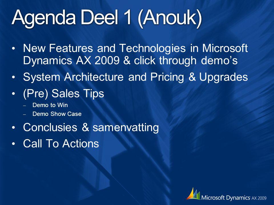 Seminar Agenda Deel 2 (Hubert) Dynamics AX 2009 – MDIS Roadmap update – Target Customers Competitie Dynamics Awareness Onderzoek Call To Actions