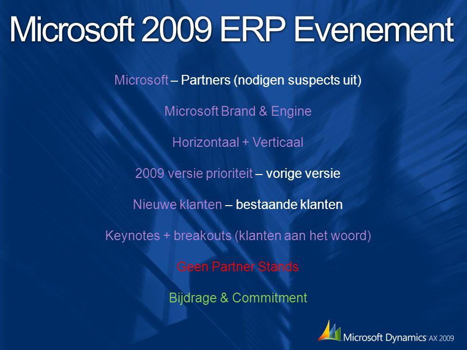 Microsoft 2009 ERP Evenement Microsoft – Partners (nodigen suspects uit) Microsoft Brand & Engine Horizontaal + Verticaal 2009 versie prioriteit – vorige versie Nieuwe klanten – bestaande klanten Keynotes + breakouts (klanten aan het woord) Geen Partner Stands Bijdrage & Commitment