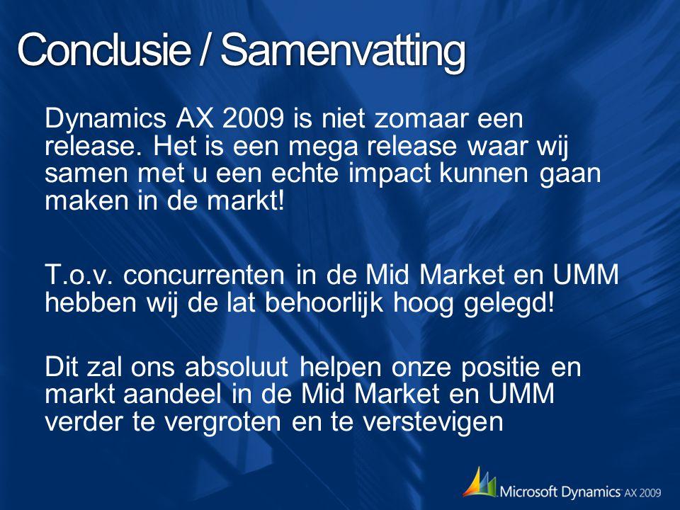 Conclusie / Samenvatting Dynamics AX 2009 is niet zomaar een release. Het is een mega release waar wij samen met u een echte impact kunnen gaan maken