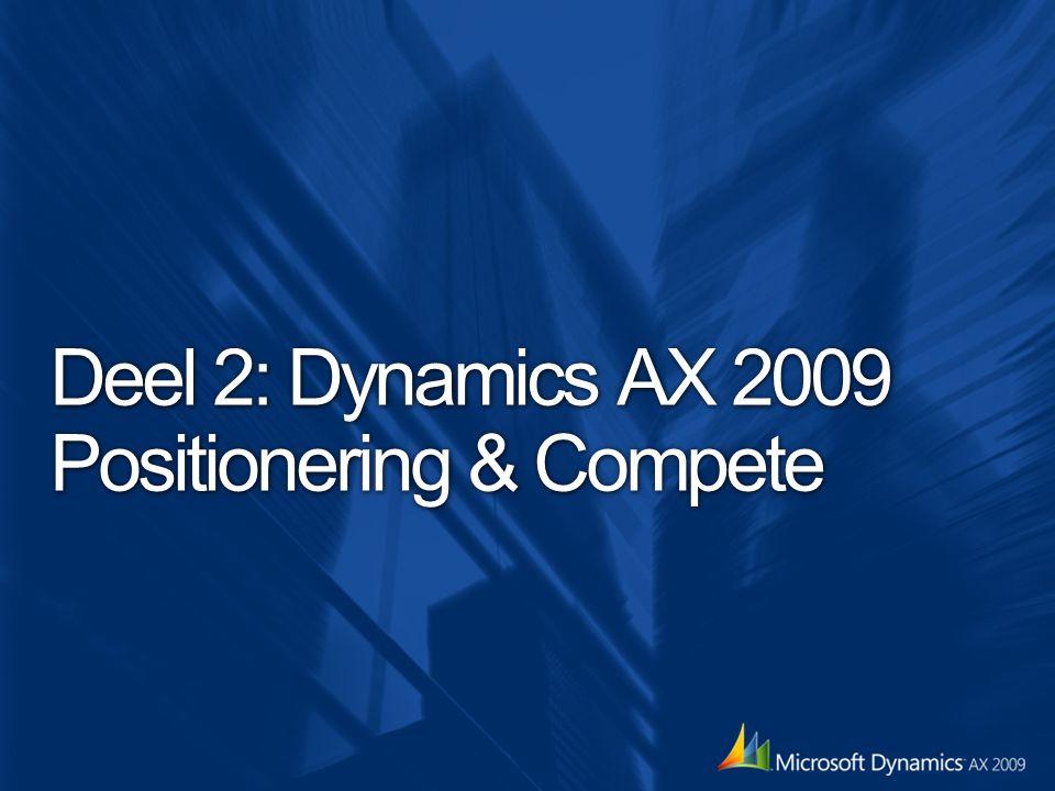 Doel van de launch Adoptie van Dynamics AX 2009, Dynamics NAV 2009 readiness partners (solutions, delivery, marketing, sales) eerste klanten succesvol live – Hoe zal Microsoft hierin ondersteunen?...