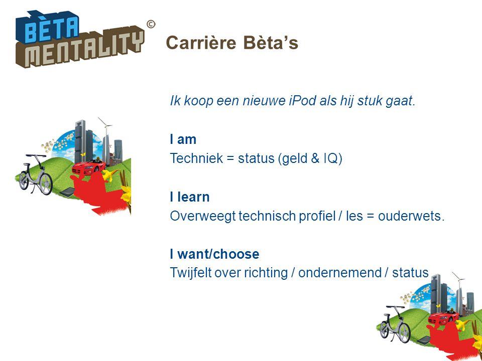 Carrière Bèta's Ik koop een nieuwe iPod als hij stuk gaat. I am Techniek = status (geld & IQ) I learn Overweegt technisch profiel / les = ouderwets. I