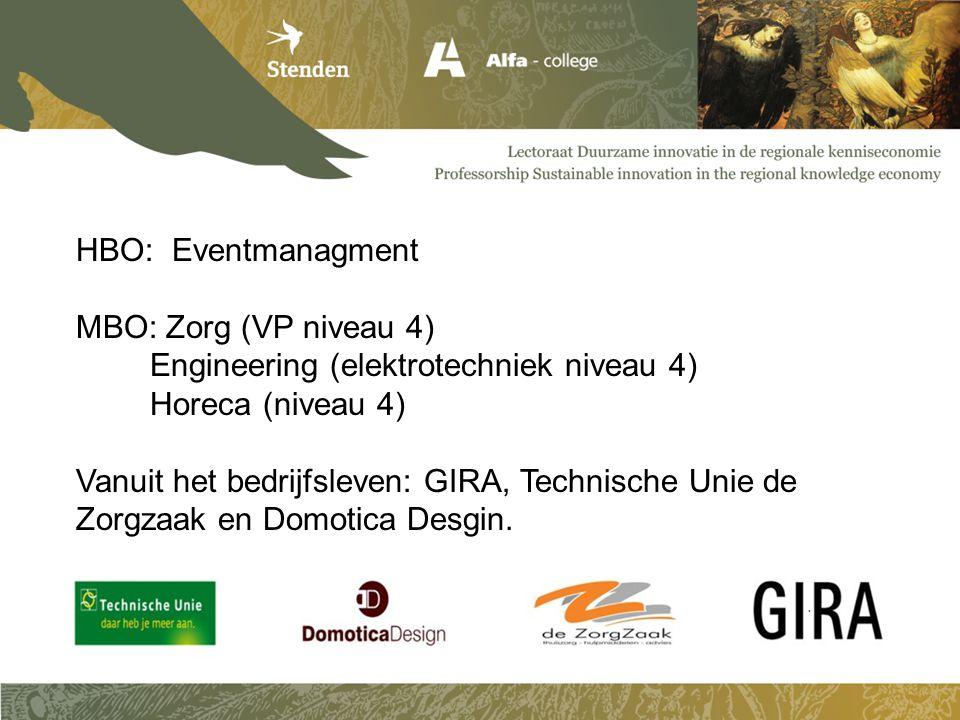 HBO: Eventmanagment MBO: Zorg (VP niveau 4) Engineering (elektrotechniek niveau 4) Horeca (niveau 4) Vanuit het bedrijfsleven: GIRA, Technische Unie d