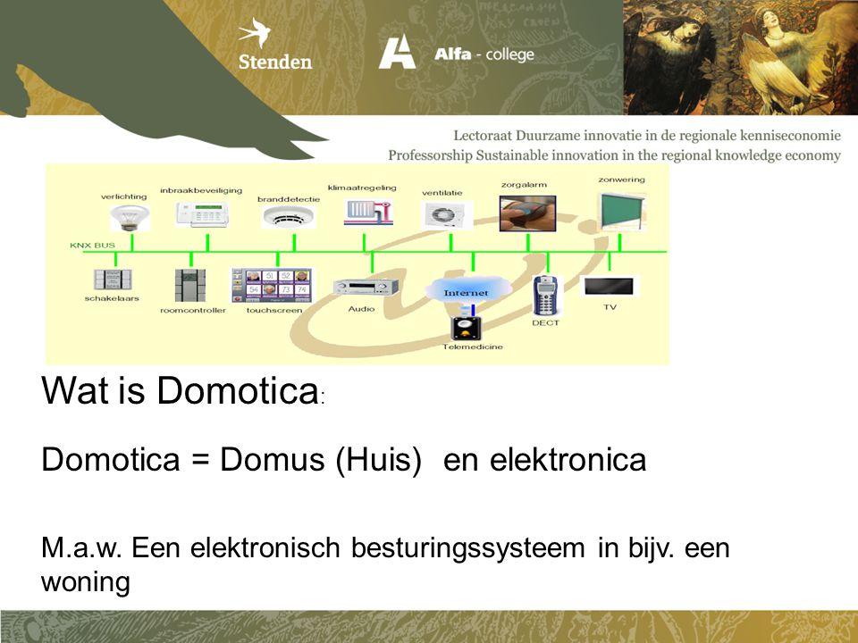 Wat is Domotica : Domotica = Domus (Huis) en elektronica M.a.w. Een elektronisch besturingssysteem in bijv. een woning
