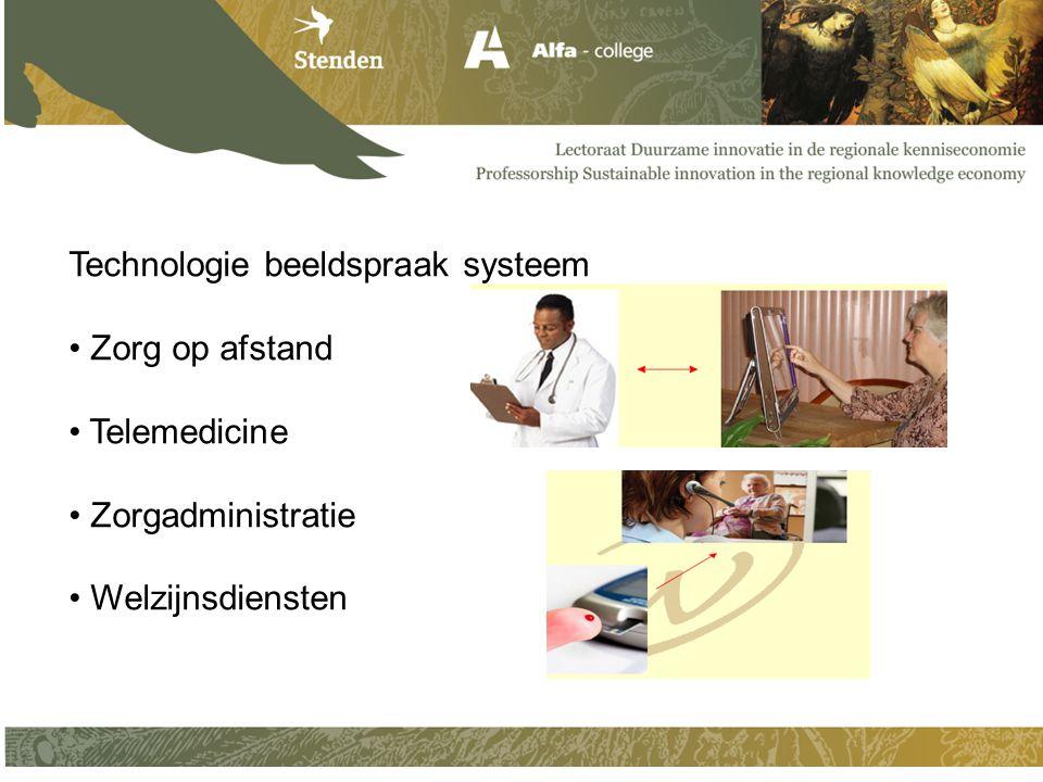 Technologie beeldspraak systeem Zorg op afstand Telemedicine Zorgadministratie Welzijnsdiensten