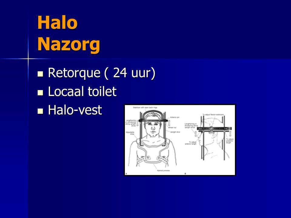 Halo Nazorg Retorque ( 24 uur) Retorque ( 24 uur) Locaal toilet Locaal toilet Halo-vest Halo-vest