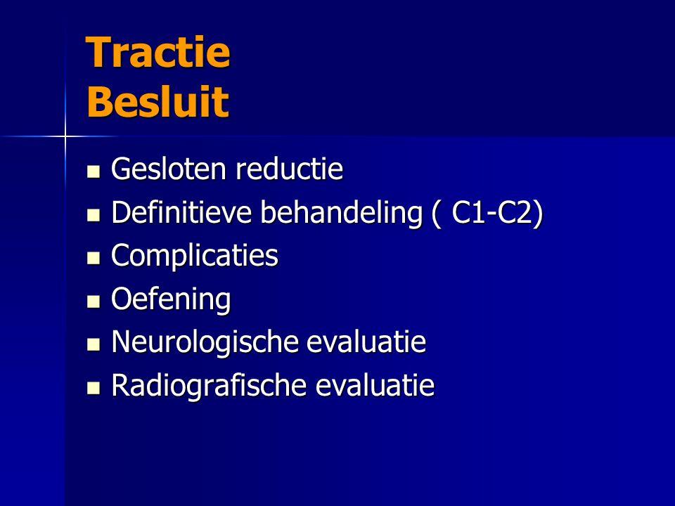 Tractie Besluit Gesloten reductie Gesloten reductie Definitieve behandeling ( C1-C2) Definitieve behandeling ( C1-C2) Complicaties Complicaties Oefeni