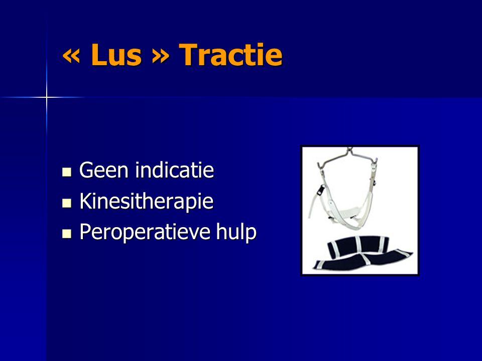 « Lus » Tractie « Lus » Tractie Geen indicatie Geen indicatie Kinesitherapie Kinesitherapie Peroperatieve hulp Peroperatieve hulp