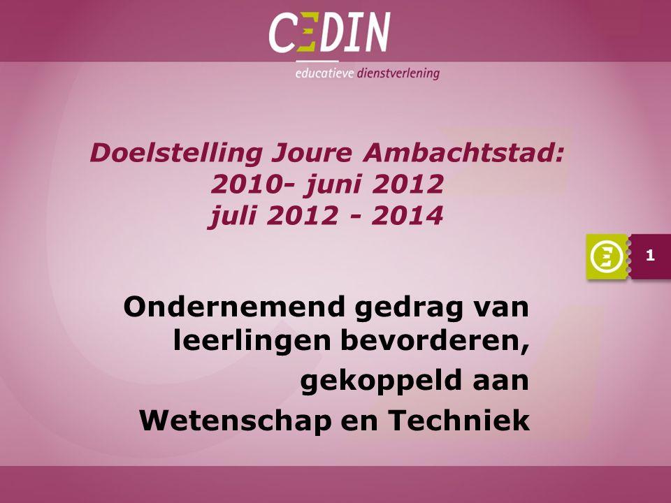 Doelstelling Joure Ambachtstad: 2010- juni 2012 juli 2012 - 2014 1 Ondernemend gedrag van leerlingen bevorderen, gekoppeld aan Wetenschap en Techniek