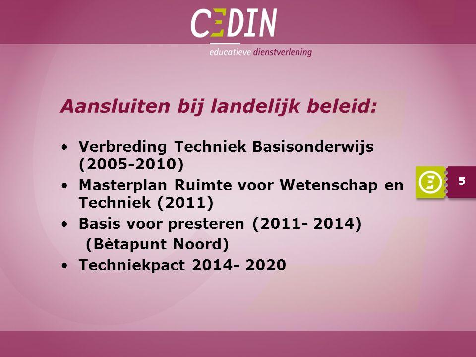 Aansluiten bij landelijk beleid: Verbreding Techniek Basisonderwijs (2005-2010) Masterplan Ruimte voor Wetenschap en Techniek (2011) Basis voor presteren (2011- 2014) (Bètapunt Noord) Techniekpact 2014- 2020 5