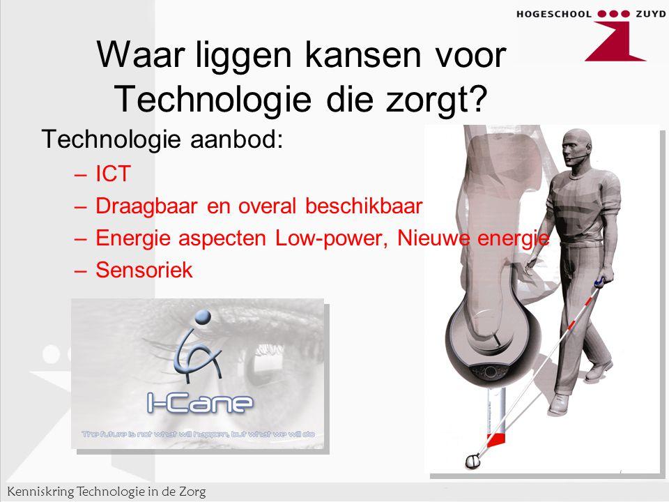 Kenniskring Technologie in de Zorg Technologie aanbod: –ICT –Draagbaar en overal beschikbaar –Energie aspecten Low-power, Nieuwe energie –Sensoriek – Waar liggen kansen voor Technologie die zorgt?