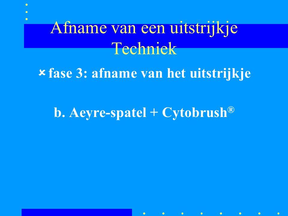 Afname van een uitstrijkje Techniek ûfase 3: afname van het uitstrijkje b. Aeyre-spatel + Cytobrush ®