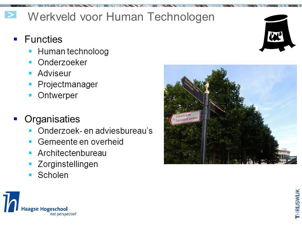 Werkveld voor Human Technologen  Functies  Human technoloog  Onderzoeker  Adviseur  Projectmanager  Ontwerper  Organisaties  Onderzoek- en adv