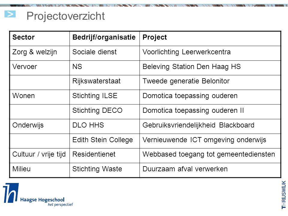 Projectoverzicht SectorBedrijf/organisatieProject Zorg & welzijnSociale dienstVoorlichting Leerwerkcentra VervoerNSBeleving Station Den Haag HS Rijksw