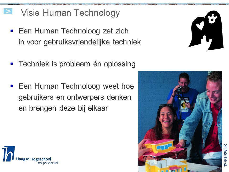Visie Human Technology  Een Human Technoloog zet zich in voor gebruiksvriendelijke techniek  Techniek is probleem én oplossing  Een Human Technoloo