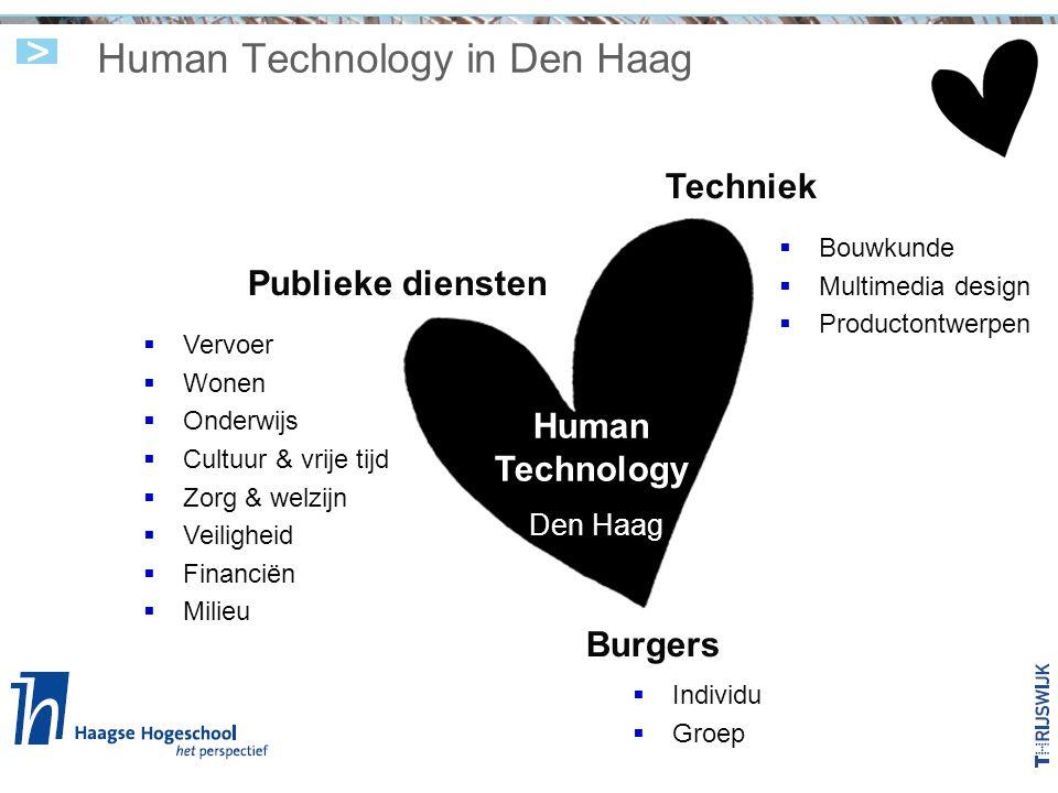 Human Technology in Den Haag Techniek Publieke diensten Burgers Human Technology Den Haag  Vervoer  Wonen  Onderwijs  Cultuur & vrije tijd  Zorg