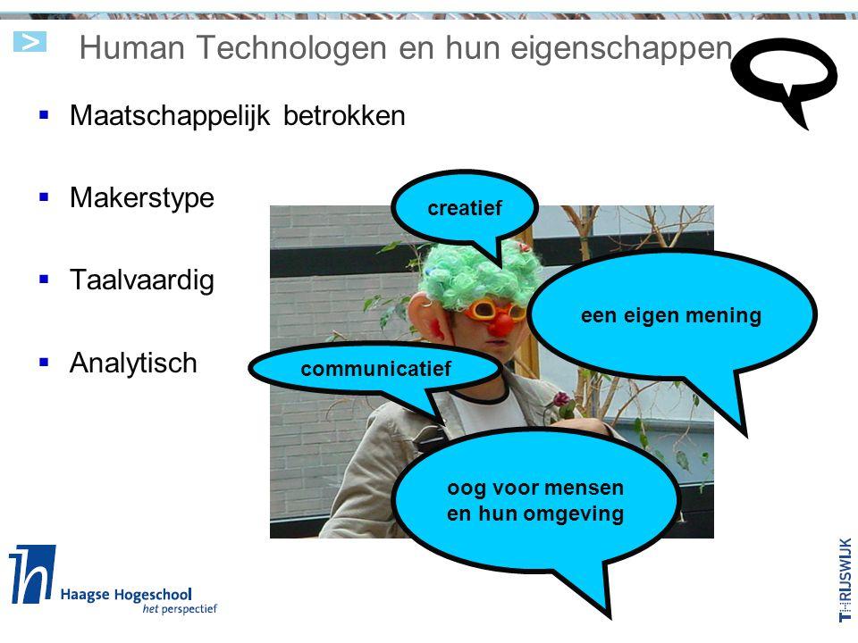 Human Technologen en hun eigenschappen  Maatschappelijk betrokken  Makerstype  Taalvaardig  Analytisch creatief communicatief oog voor mensen en h