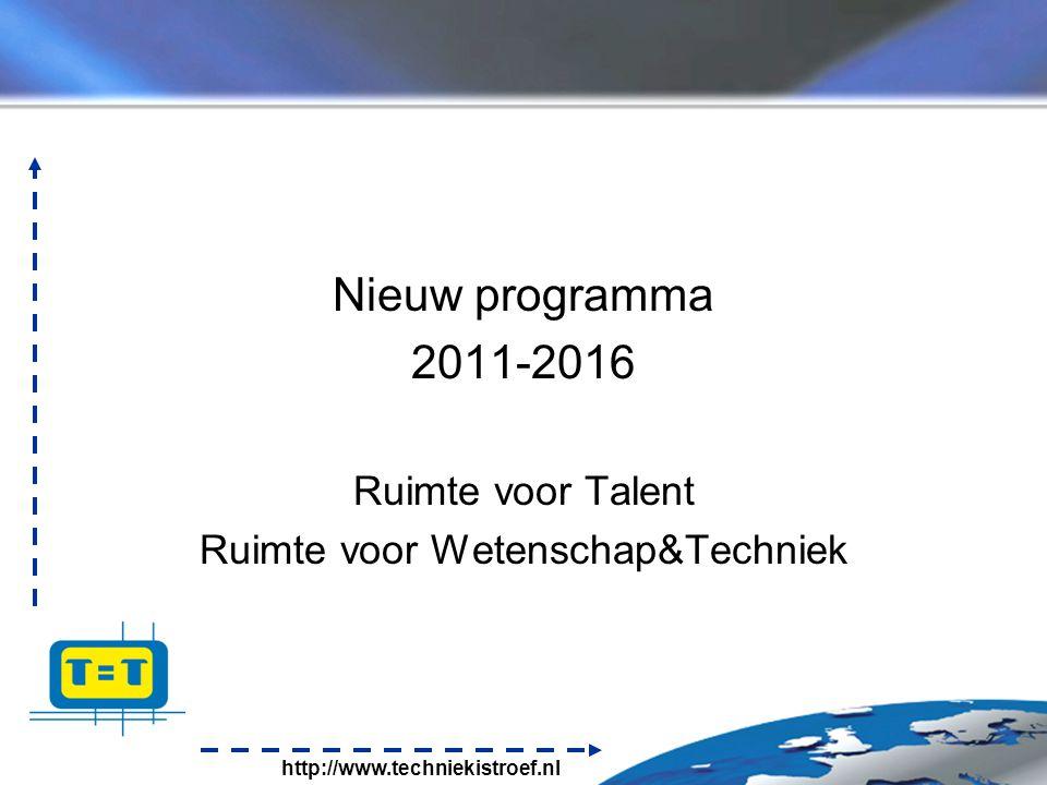 http://www.techniekistroef.nl Visie 'Op de Bres voor techniek' Nieuw programma 2011-2016 Ruimte voor Talent Ruimte voor Wetenschap&Techniek