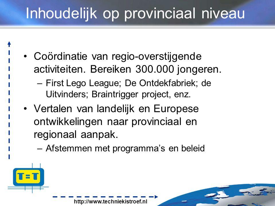 http://www.techniekistroef.nl Inhoudelijk op provinciaal niveau Coördinatie van regio-overstijgende activiteiten.