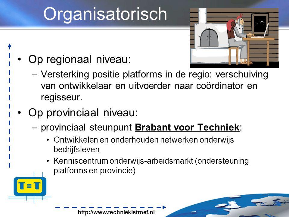 http://www.techniekistroef.nl Organisatorisch Op regionaal niveau: –Versterking positie platforms in de regio: verschuiving van ontwikkelaar en uitvoerder naar coördinator en regisseur.