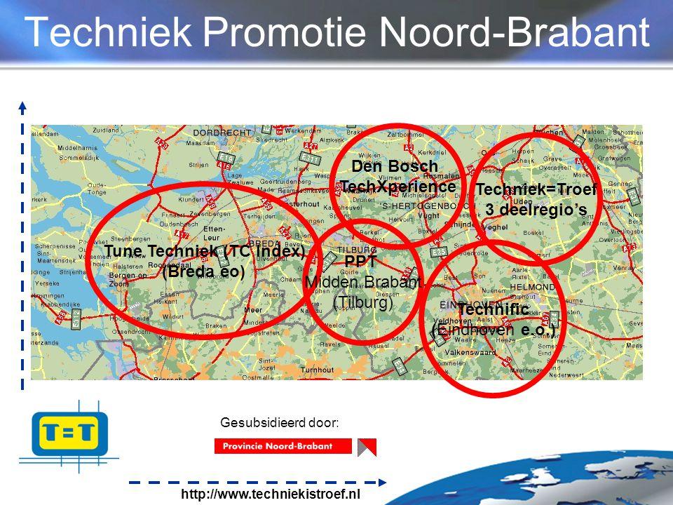 http://www.techniekistroef.nl Techniek Promotie Noord-Brabant Tune Techniek (TC Index) (Breda eo) PPT Midden Brabant (Tilburg) Technific (Eindhoven e.o.) Techniek=Troef 3 deelregio's Den Bosch TechXperience Gesubsidieerd door: