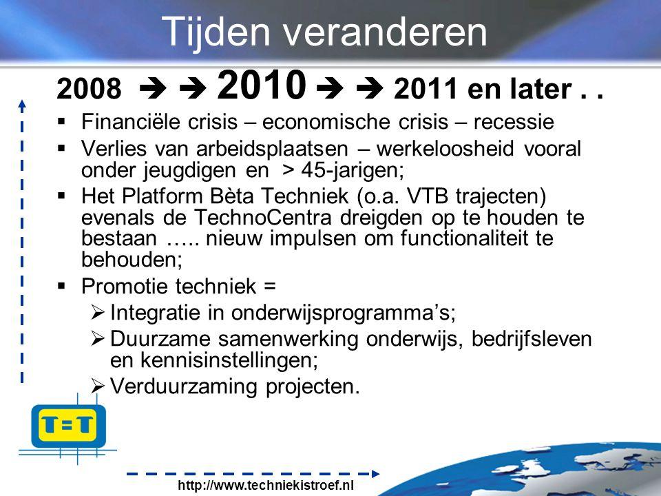 http://www.techniekistroef.nl Tijden veranderen 2008   2010   2011 en later..
