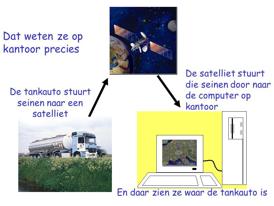 Dat weten ze op kantoor precies De tankauto stuurt seinen naar een satelliet De satelliet stuurt die seinen door naar de computer op kantoor En daar zien ze waar de tankauto is