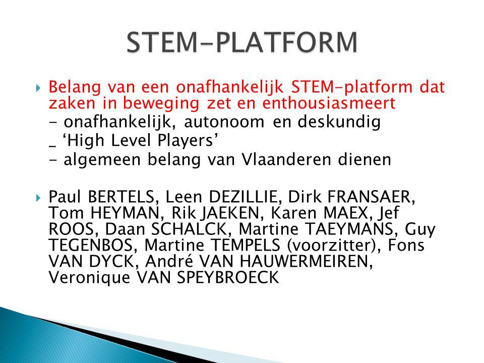  Belang van een onafhankelijk STEM-platform dat zaken in beweging zet en enthousiasmeert - onafhankelijk, autonoom en deskundig _ 'High Level Players