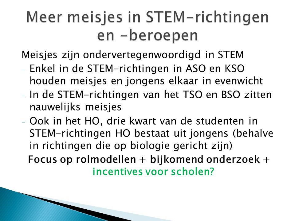 Meisjes zijn ondervertegenwoordigd in STEM - Enkel in de STEM-richtingen in ASO en KSO houden meisjes en jongens elkaar in evenwicht - In de STEM-rich