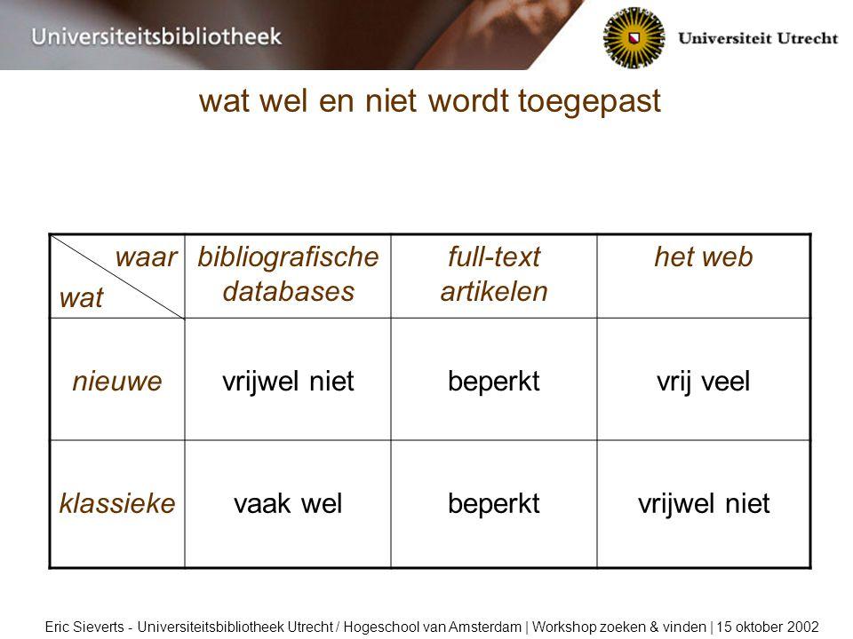 wat wel en niet wordt toegepast Eric Sieverts - Universiteitsbibliotheek Utrecht / Hogeschool van Amsterdam | Workshop zoeken & vinden | 15 oktober 2002 waar wat bibliografische databases full-text artikelen het web nieuwevrijwel nietbeperktvrij veel klassiekevaak welbeperktvrijwel niet
