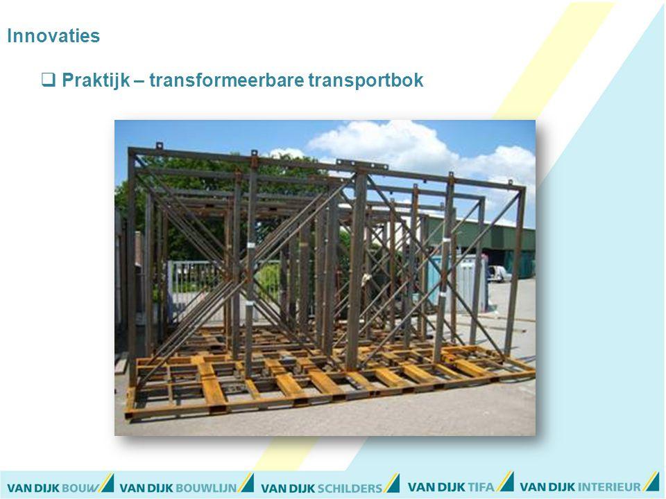 Innovaties  Praktijk – transformeerbare transportbok