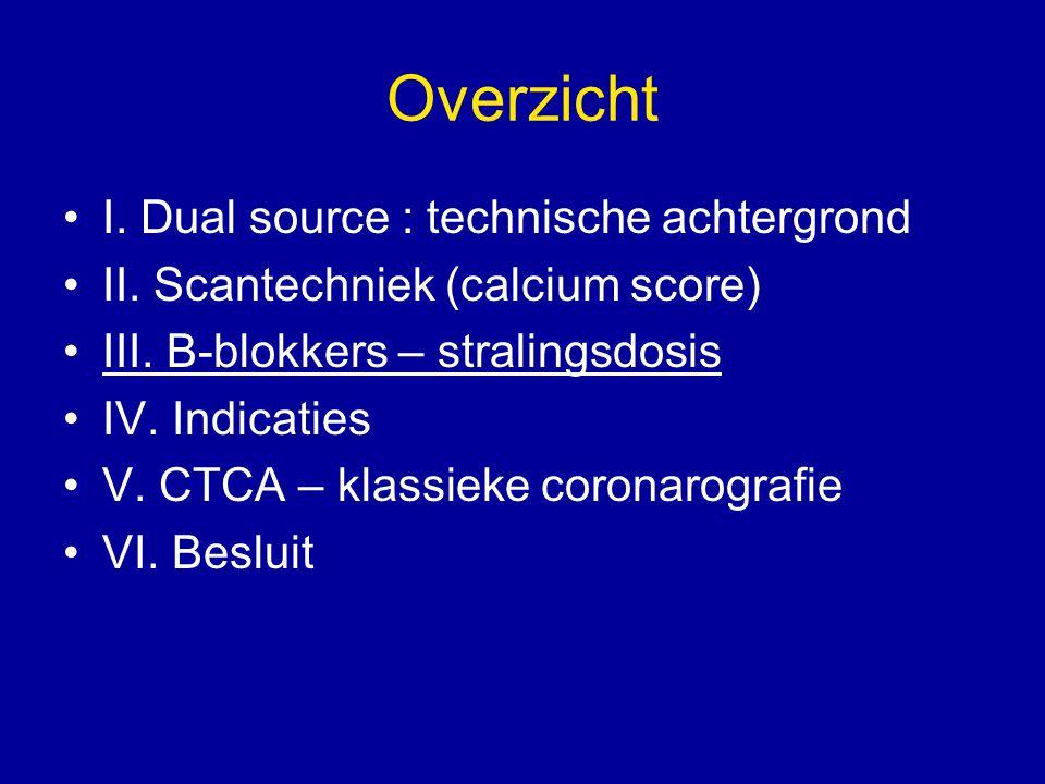 Overzicht I. Dual source : technische achtergrond II. Scantechniek (calcium score) III. B-blokkers – stralingsdosis IV. Indicaties V. CTCA – klassieke