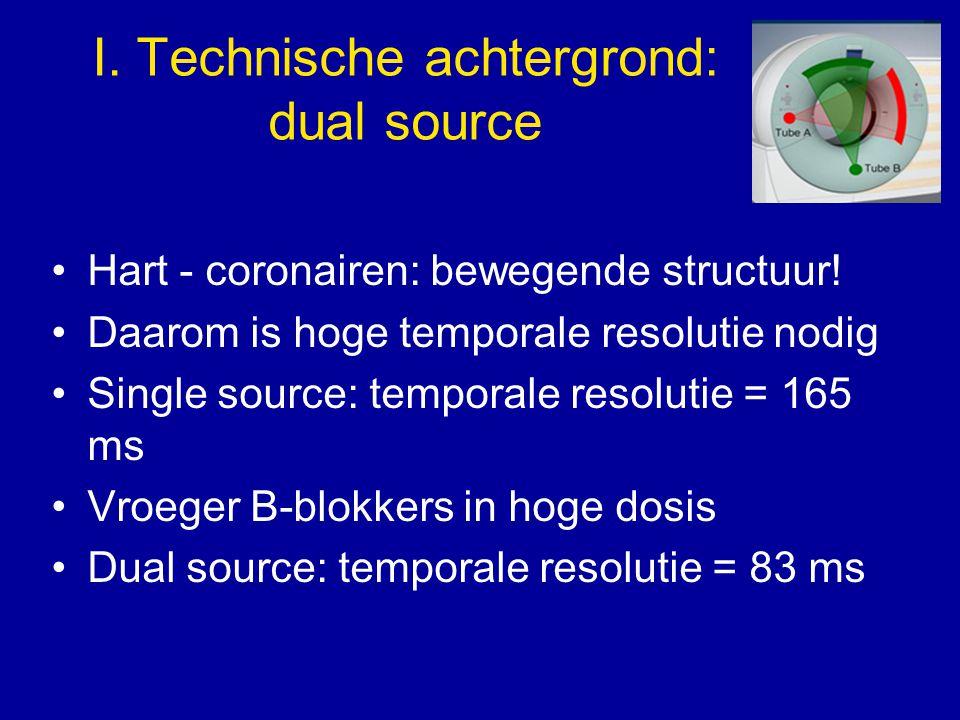 I. Technische achtergrond: dual source Hart - coronairen: bewegende structuur! Daarom is hoge temporale resolutie nodig Single source: temporale resol