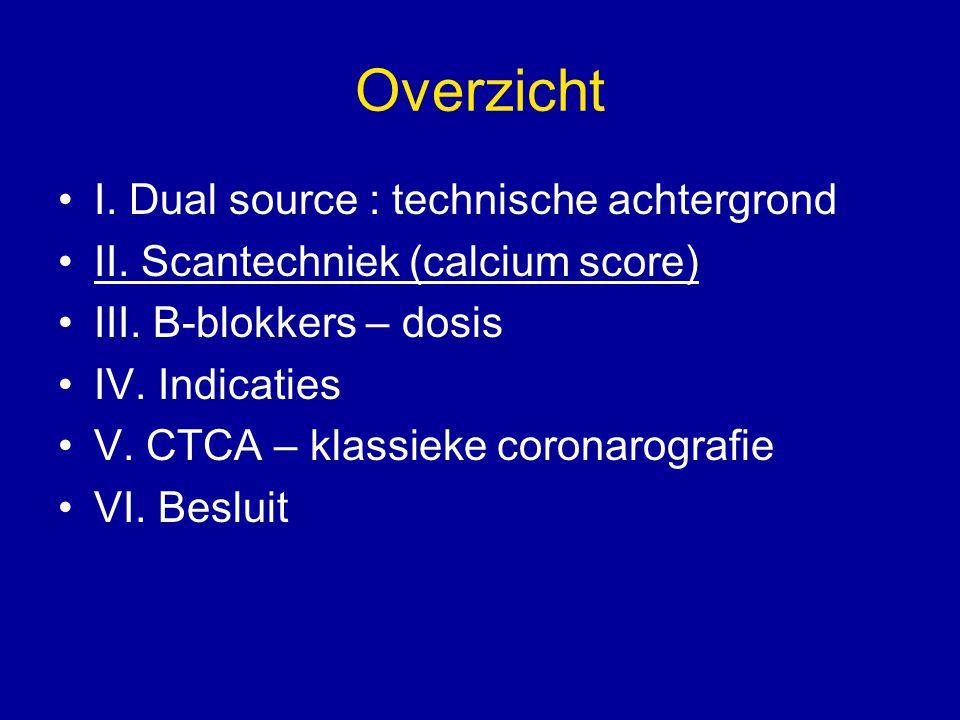Overzicht I. Dual source : technische achtergrond II. Scantechniek (calcium score) III. B-blokkers – dosis IV. Indicaties V. CTCA – klassieke coronaro
