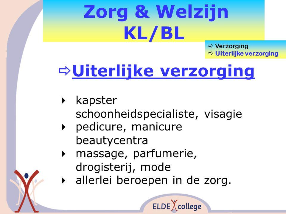 Zorg & Welzijn KL/BL  Uiterlijke verzorging  kapster schoonheidspecialiste, visagie  pedicure, manicure beautycentra  massage, parfumerie, drogisterij, mode  allerlei beroepen in de zorg.