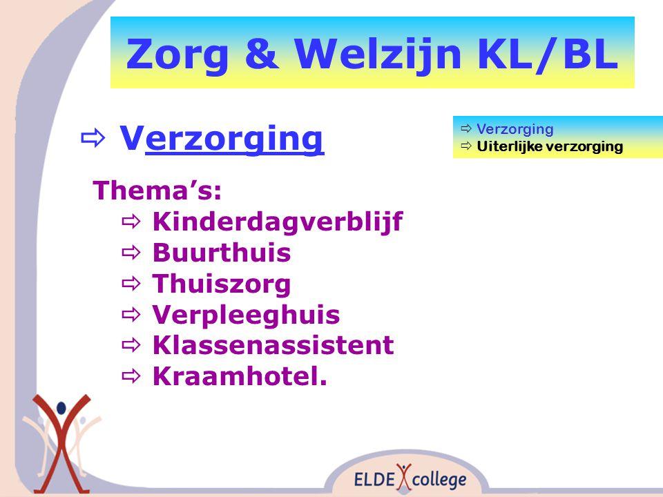Zorg & Welzijn KL/BL  Verzorging  Uiterlijke verzorging Thema's:  Kinderdagverblijf  Buurthuis  Thuiszorg  Verpleeghuis  Klassenassistent  Kraamhotel.