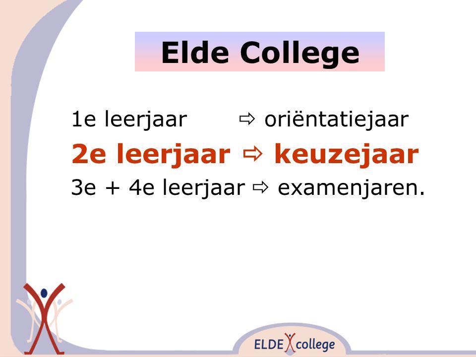 1e leerjaar  oriëntatiejaar 2e leerjaar  keuzejaar 3e + 4e leerjaar  examenjaren. Elde College