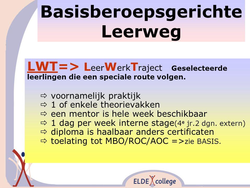Basisberoepsgerichte Leerweg LWT=> L eer W erk T raject Geselecteerde leerlingen die een speciale route volgen.