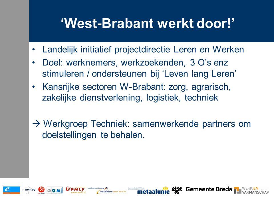 'West-Brabant werkt door!' Ambities project T/m 2008: nieuwe instroom -Instroomprojecten Proces, metaal… -Upgrading / doorstroom -Deskundigheid overheid 2009: behoud van Vakmanschap!