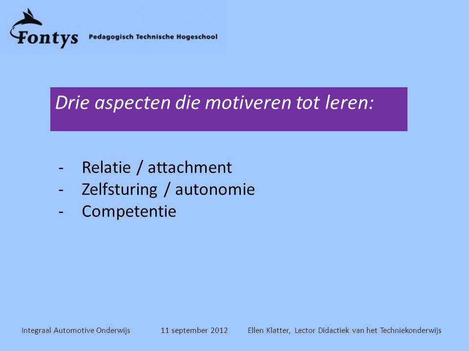 Integraal Automotive Onderwijs 11 september 2012 Ellen Klatter, Lector Didactiek van het Techniekonderwijs -Relatie / attachment -Zelfsturing / autonomie -Competentie Drie aspecten die motiveren tot leren: