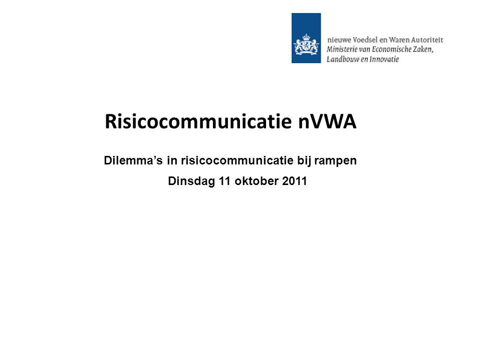 Risicocommunicatie nVWA Dilemma's in risicocommunicatie bij rampen Dinsdag 11 oktober 2011