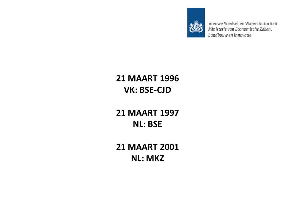 21 MAART 1996 VK: BSE-CJD 21 MAART 1997 NL: BSE 21 MAART 2001 NL: MKZ