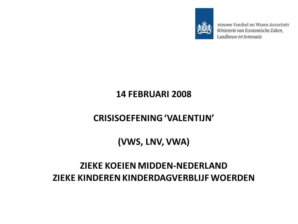 14 FEBRUARI 2008 CRISISOEFENING 'VALENTIJN' (VWS, LNV, VWA) ZIEKE KOEIEN MIDDEN-NEDERLAND ZIEKE KINDEREN KINDERDAGVERBLIJF WOERDEN