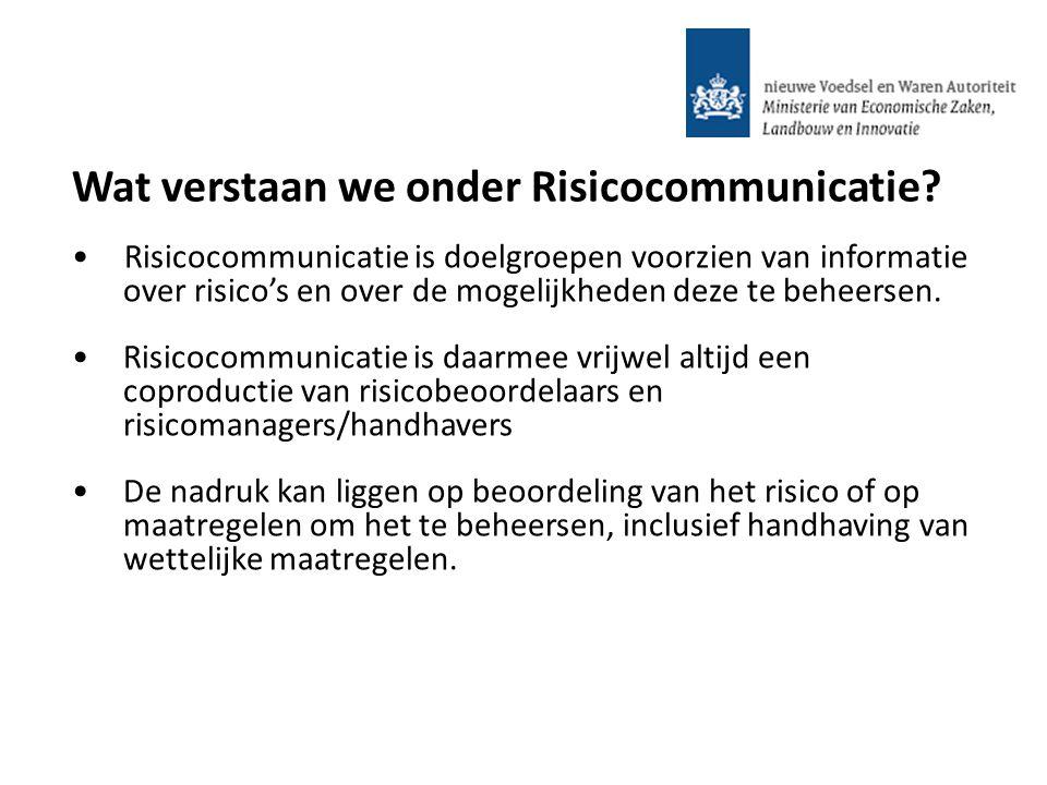 Risicocommunicatie is doelgroepen voorzien van informatie over risico's en over de mogelijkheden deze te beheersen. Risicocommunicatie is daarmee vrij