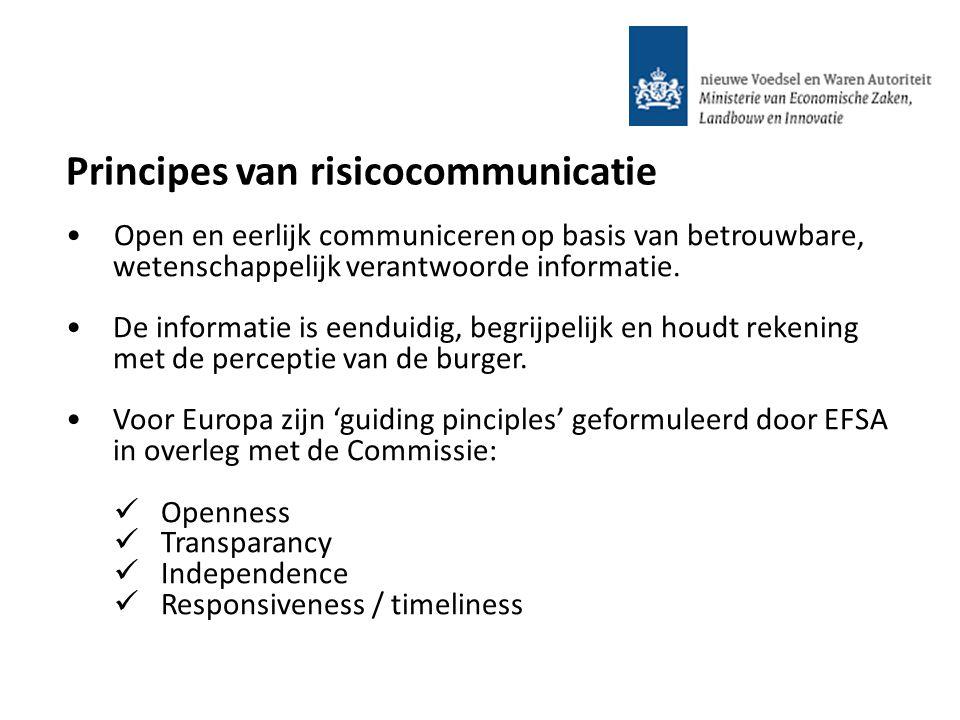 Open en eerlijk communiceren op basis van betrouwbare, wetenschappelijk verantwoorde informatie. De informatie is eenduidig, begrijpelijk en houdt rek