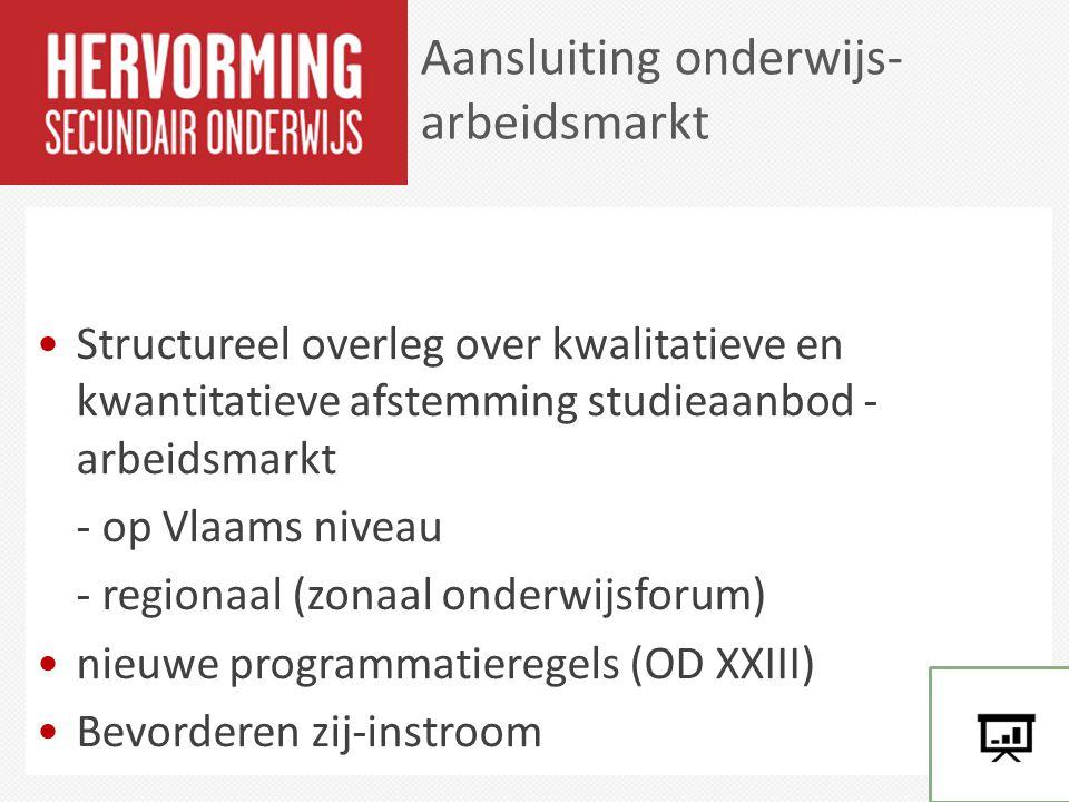 Structureel overleg over kwalitatieve en kwantitatieve afstemming studieaanbod - arbeidsmarkt - op Vlaams niveau - regionaal (zonaal onderwijsforum) n