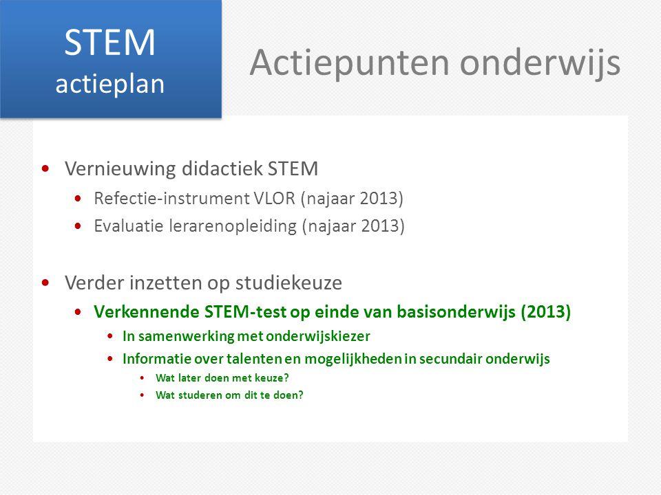 Actiepunten onderwijs Vernieuwing didactiek STEM Refectie-instrument VLOR (najaar 2013) Evaluatie lerarenopleiding (najaar 2013) Verder inzetten op st