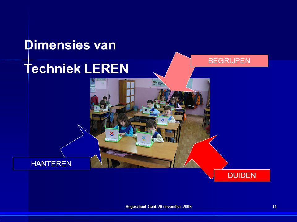 Hogeschool Gent 20 november 200811 Dimensies van Techniek LEREN BEGRIJPEN HANTEREN DUIDEN