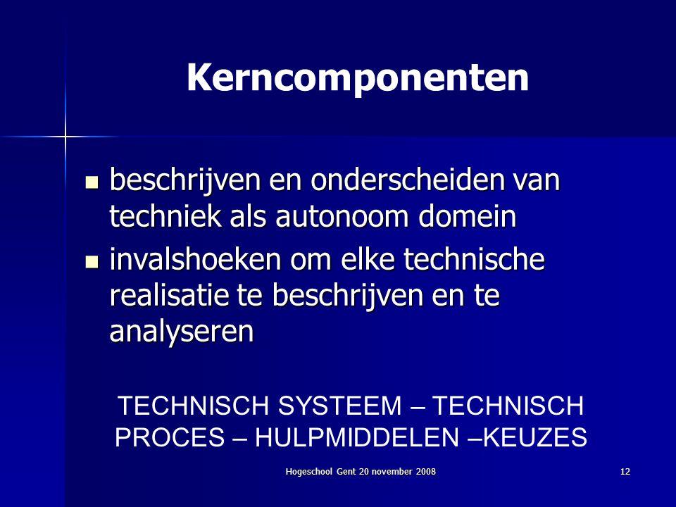 Hogeschool Gent 20 november 200812 TECHNISCH SYSTEEM – TECHNISCH PROCES – HULPMIDDELEN –KEUZES Kerncomponenten beschrijven en onderscheiden van techni