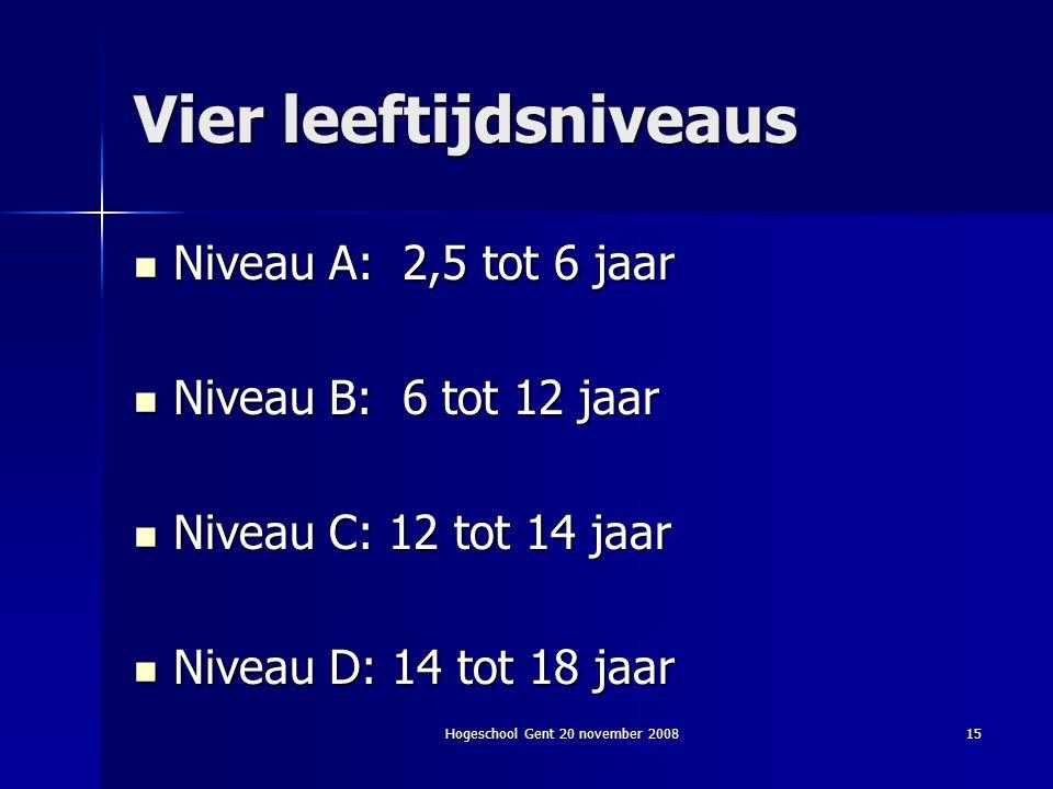 Hogeschool Gent 20 november 200815 Vier leeftijdsniveaus Niveau A: 2,5 tot 6 jaar Niveau A: 2,5 tot 6 jaar Niveau B: 6 tot 12 jaar Niveau B: 6 tot 12