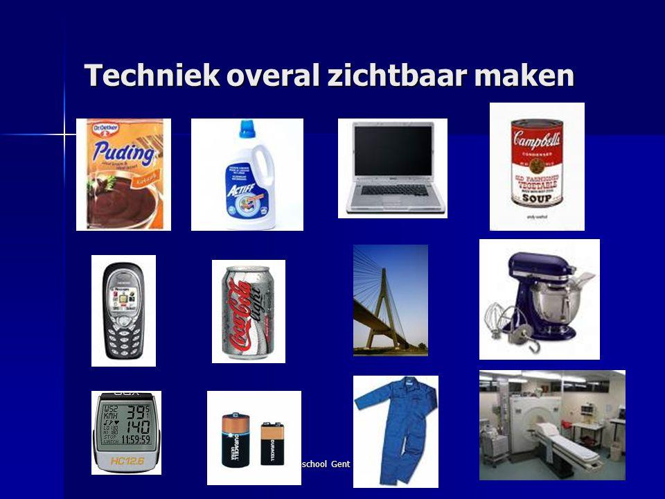Hogeschool Gent 20 november 200814 19 standaarden voor technische geletterdheid Technisch systeem Technisch proces HulpmiddelenKeuzes Begrijpen Hanteren Duiden STANDAARDEN